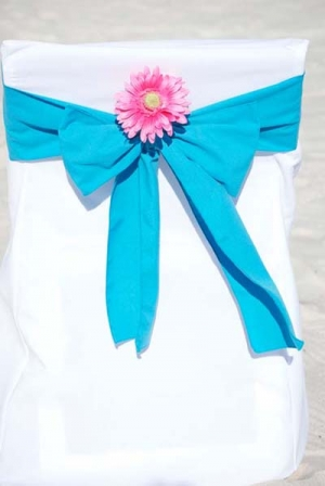 Ocean Blue with Pink Daisy