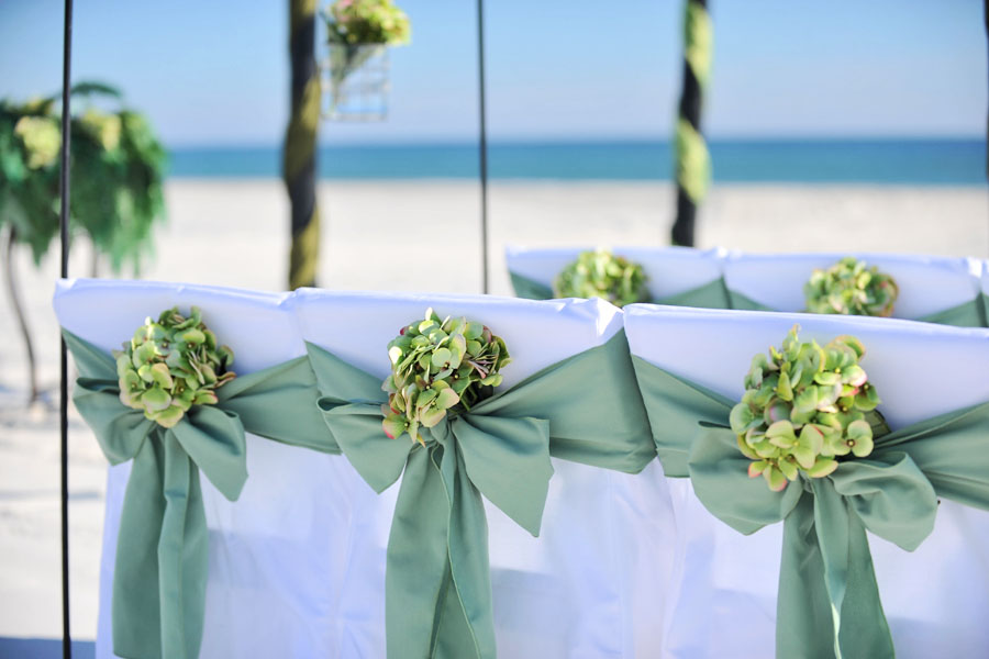 Big Day Weddings Celadon Green Beach Wedding Set up