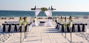White Tiki Torches Beach Wedding Package Alabama LP