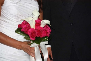 Beach Wedding Bright Pink Rose with White Calla Lily Bouquet Big Day Weddings