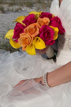 Beach Wedding Mixed Rose and Calla Lily Bouquet Big Day Weddings
