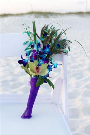 Beach Wedding Peacock Feather Bouquet Big Day Weddings