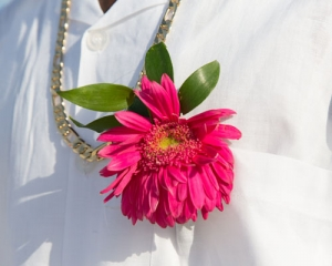 Beach Wedding Pink Gerbera Daisy Boutonniere Big Day Weddings