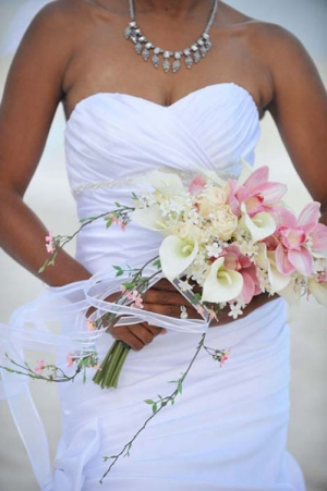 Beach Wedding Pink Orchids White Calla Bouquet Big Day Weddings