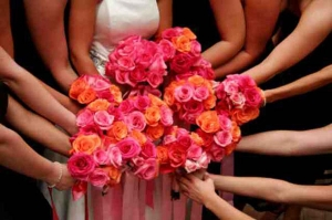Beach Wedding Pink and Orange Rose Bouquets Big Day Weddings