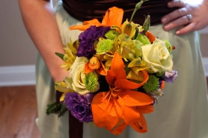 Beach Wedding Tropical Orange and Purple Bouquet Big Day Weddings