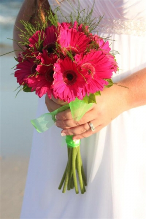 Beach Wedding Classic Pink Gerbera Bouquet Big Day Weddings