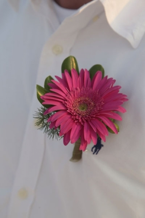 Beach Wedding Pink Gerbera Daisy Bouttonniere Big Day Weddings