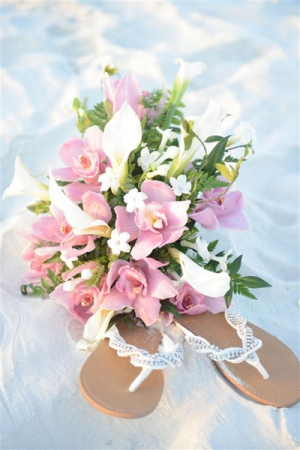 Beach Wedding Pink Orchid and White Calla Lily Bouquet Big Day Weddings