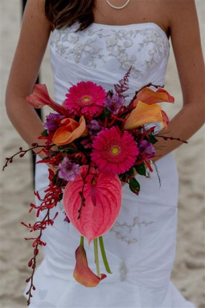 Beach Wedding Pink and Orange Bouquet Big Day Weddings