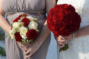 Beach Wedding Red and White Rose Bouquets Big Day Weddings