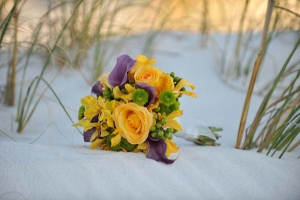 Beach Wedding Yellow Rose Purple Calla Bouquet Big Day Weddings