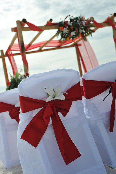 Fall Beach Wedding Red And White
